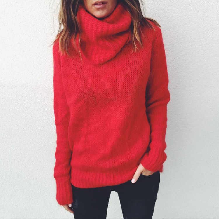 스웨터 여성 2019 새로운 가을, 겨울 솔리드 컬러 긴 소매 높은 칼라 풀오버 겨울 의류 여성 Vestidos MMY76001