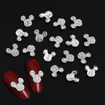 10 sztuk wysokiej jakości brokat pełne wiertło mysz Nial dekoracje artystyczne stop dżetów 3d biżuteria do paznokci Charms dla paznokci tanie i dobre opinie CN (pochodzenie) H257-20 Metal Rhinestone i dekoracje 10pcs 6*14mm