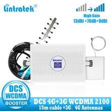 Lintratek 3G 4G الإنترنت الخلوية مكبر صوت أحادي LTE 4g الهاتف المحمول إشارة الداعم WCDMA 1800 2100 DCS 3G الهاتف المحمول مكرر