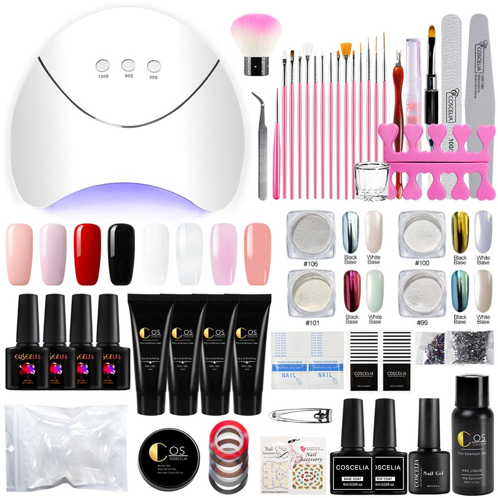 COSCELIA Professional Manicure Kit UV Lamp Dryer Nail Art Brush Quick Building For Nails Extension Jelly Gel Kit For Manicure