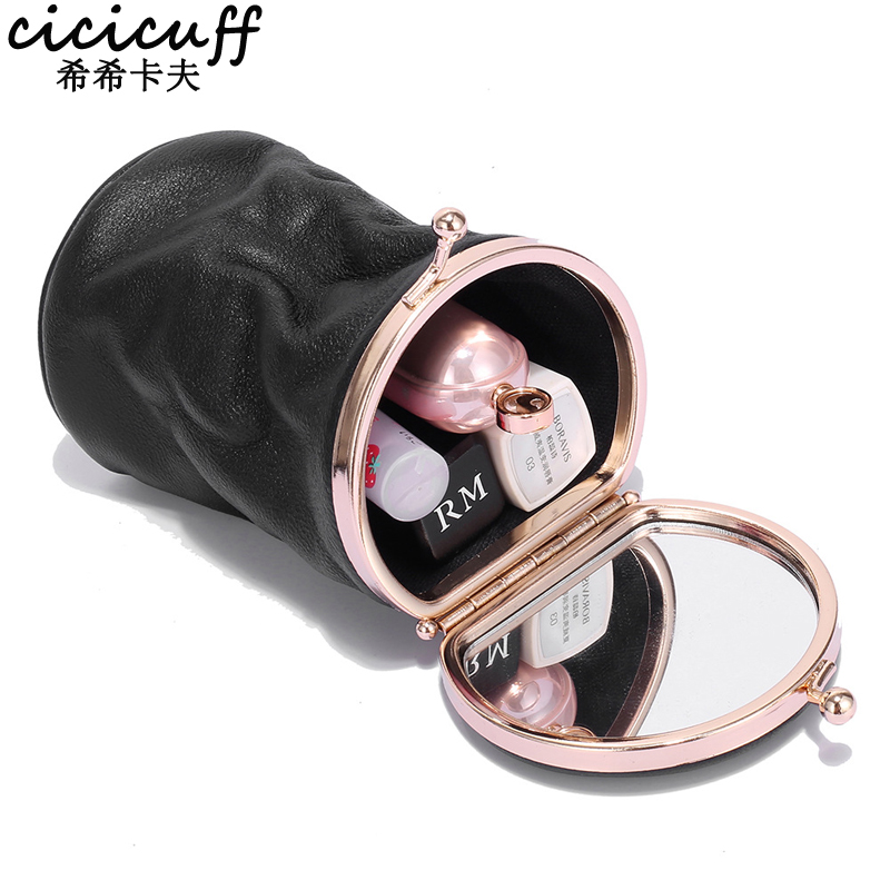 Makeup Case Small Portable Genuine Leather Lipstick Storage Pouch With Mirror Perfume Jewelry Organizer Pocket Mini Cosmetic Bag
