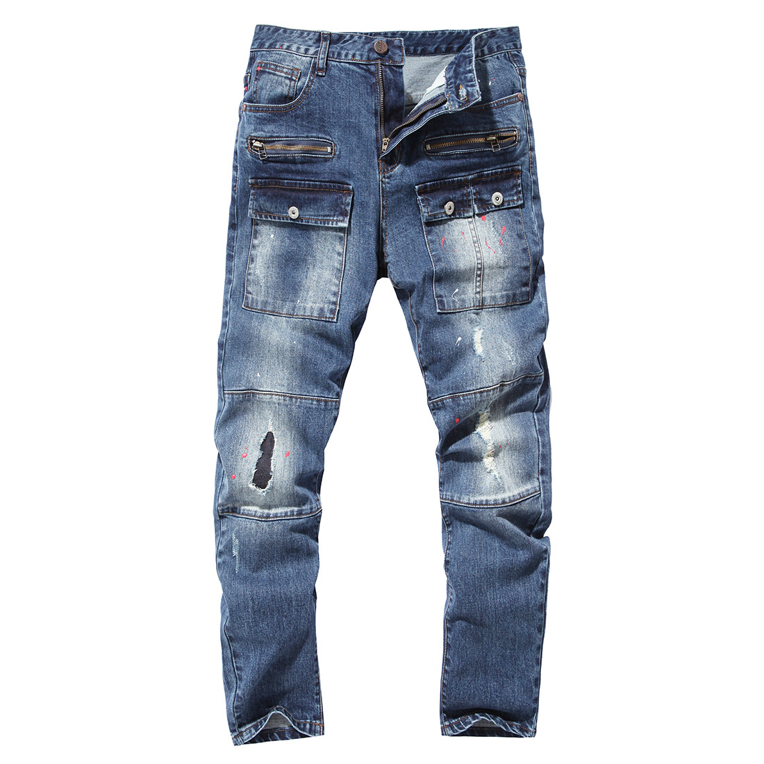 2019 Spring And Autumn With Holes MEN'S Jeans End Boutique Pure Cotton Cowboy Trousers Multi-pockets Lacquer Fashion-Y609
