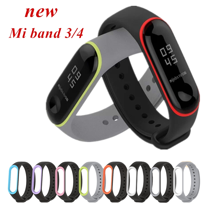 Mi Band 4 3 Silicone Bracelet Band For Xiaomi Mi Band 4 3 Bracelet Pure Dual Color Replacement Strap Miband 4 3 Wrist Straps
