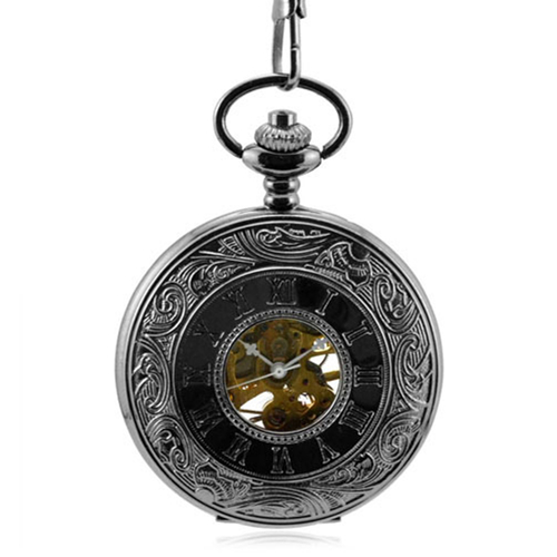 Steampunk Roman Numerals Skeleton Mechanical Pocket Watch Men Antique Necklace Pocket & Fob Watches Chain Male Clock Gift Men