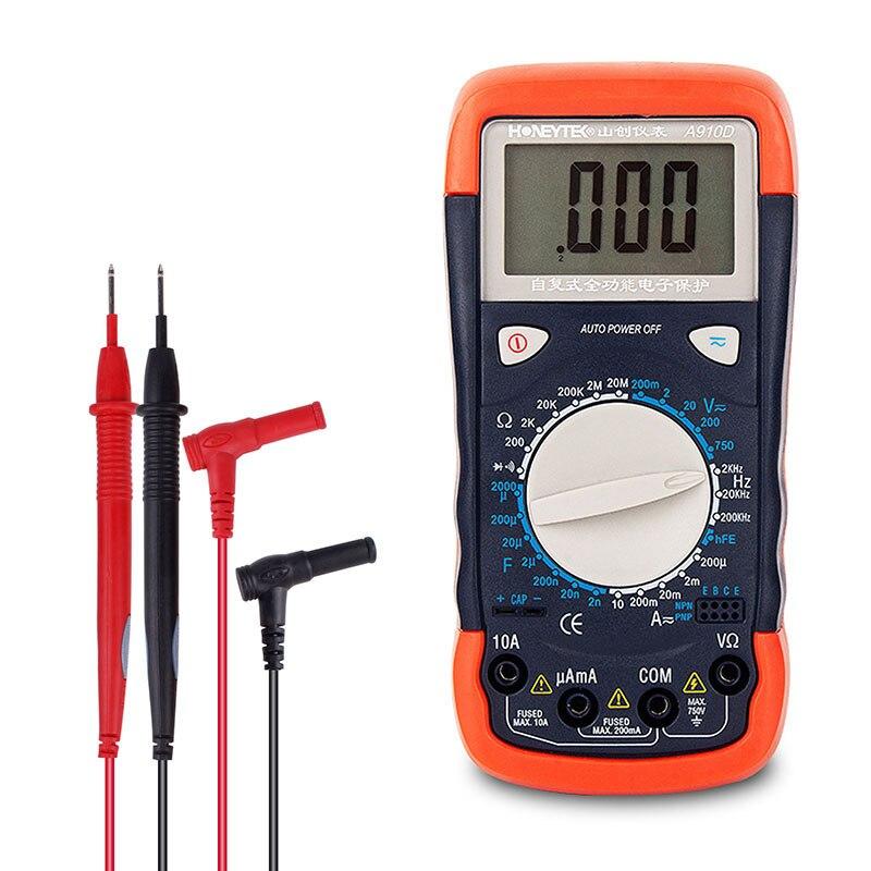 Multímetro Digital profesional 2nF ~ 2000μF condensador probador medidor ESR probadores DC/AC voltaje corriente 200μA ~ 10A 200mV ~ 750V Medidor de potencia de fibra óptica 2 en 1, con fuente láser de 10km, localizador Visual de fallos VD708-10mw