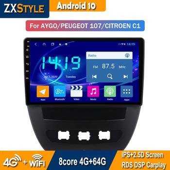 4G + 64G Android 10 samochodowy odtwarzacz DVD nawigacja GPS dla Toyota Aygo Peugeot 107 Citroen C1 Radio inteligentny System tanie i dobre opinie CN (pochodzenie) podwójne złącze DIN Rohs 4*45W System operacyjny Android 10 0 DVD-R RW DVD-RAM JPEG bluetooth Wbudowany GPs