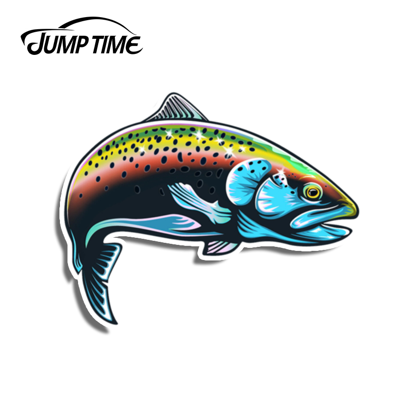 Jump Time 13cm x10.3cm Rainbow Trout Fish Funny Decal Vinyl Fishing Stickers Car Styling Waterproof Laptop Motor Car Accessories(China)