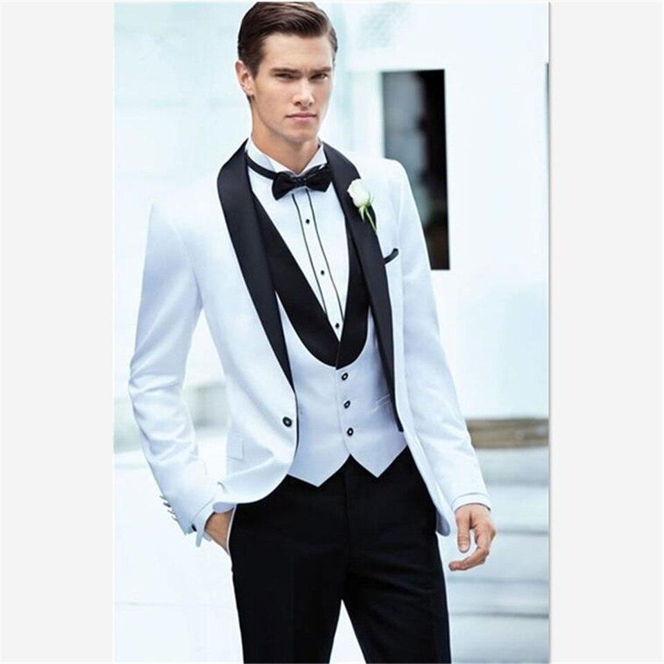 Latest Coat Pant Designs White+black Men Suit Slim Fit 3 Piece Tuxedo Groom Wedding Suits Custom Prom Blazer (jacket+pants+vest)