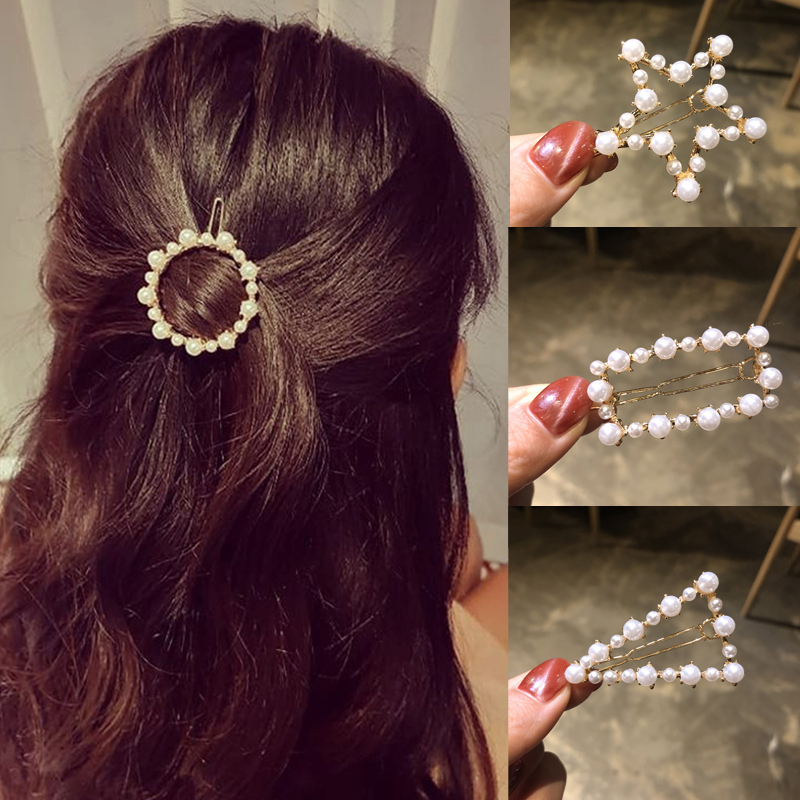 Ruoshui Woman Geometric Irregular Pearl Hairpins Girls Hair Accessories Delicate Hair Grip Ladies Barrettes Hair Clip Headwear