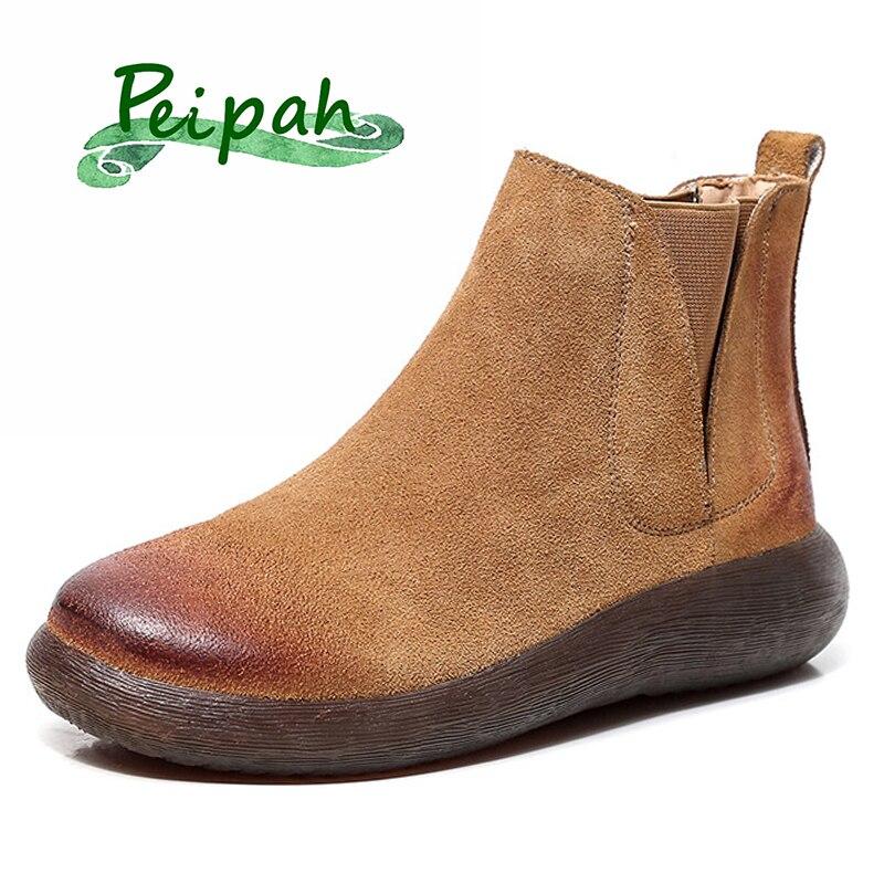 PEIPAH2019 Designer fait à la main de nouvelles bottes pour femmes d'hiver en cuir véritable fourrure plat bottes nues cheval chaussures d'hiver Chelsea chaussons