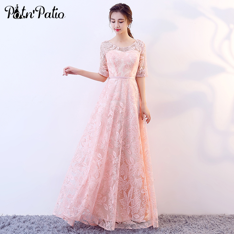 Pink Lace Evening Dresses With Sleeves Elegant Floor-length Long Formal Dresses 2019 Plus Size Evening Gowns For Women