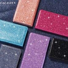 Funda brillante para Samsung Galaxy S10e Note 10 8 9 S10 S9 S8 Plus S7 S6 Edge cuero Flip tarjeta de la ranura de la cartera cubierta Coque