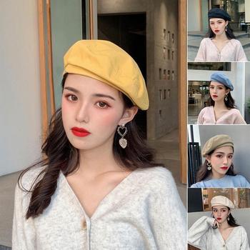 5 Colors Fashion Woman Solid Color Girl Beret Beanie Cap Painter Summer Spring Sun Hat Solid Color E