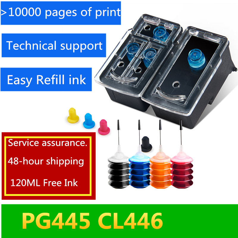PG-445XL PG 445 PG445 CL446 PG-445 CL-446 Refillable Ink Cartridge Compatible For Canon Pixma IP2840 MX494 MG2440 MG2540 MG2940