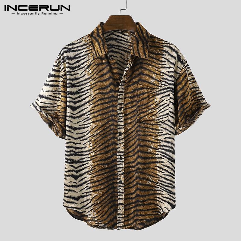 Short Sleeve Men Shirt Leopard Print Lapel Chic 2020 Streetwear Button Blouse Casual Summer Fashion Mens Hawaiian Shirts INCERUN