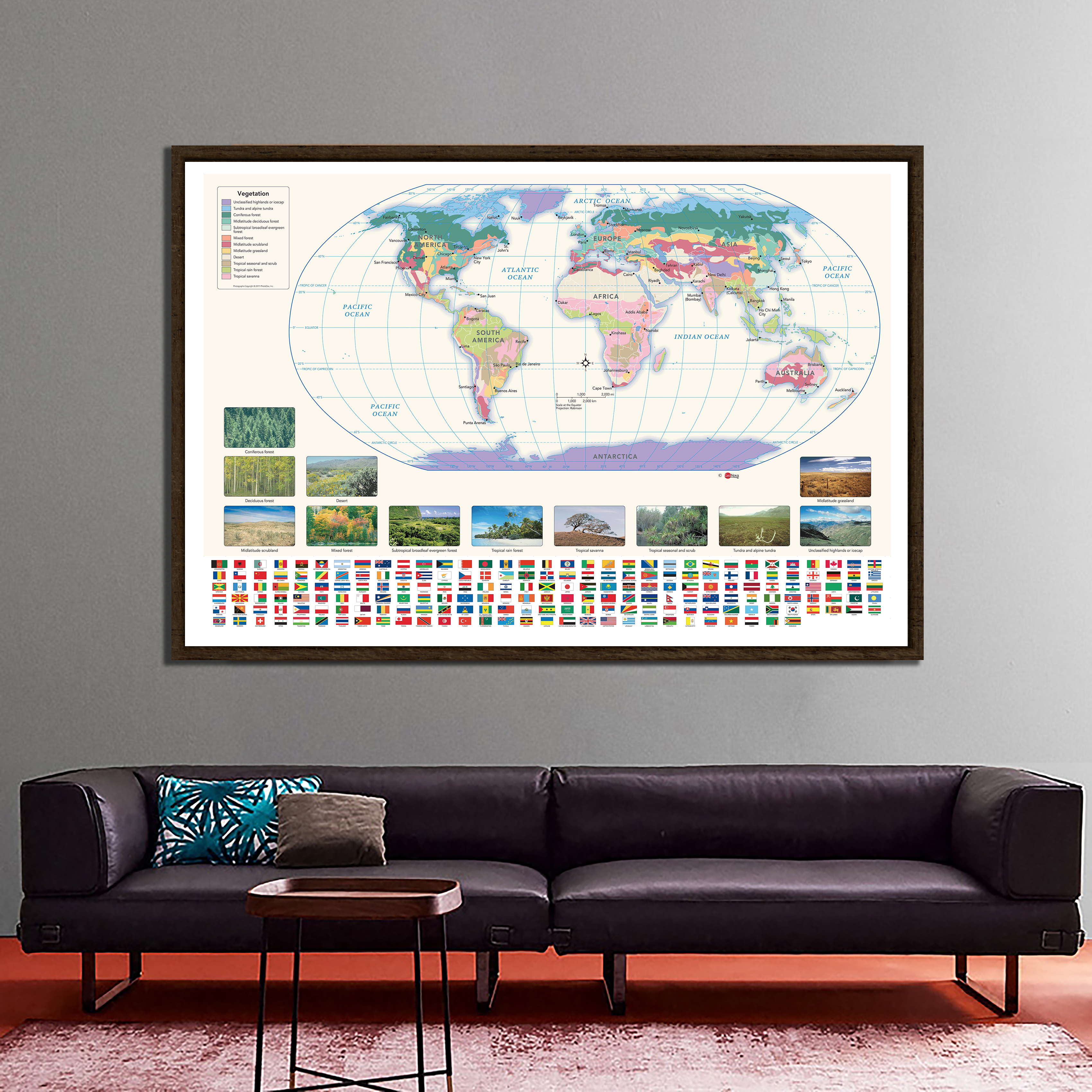 The World Map With Vegetation Map And National Flags 150x225cm Non-woven Waterproof World Map
