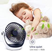 Table Fan Mini Personal Fan With Strong Airflow Ultra Quiet Portable Fans Speed Adjustable Head 360°Rotatable USB Fan For Sleep