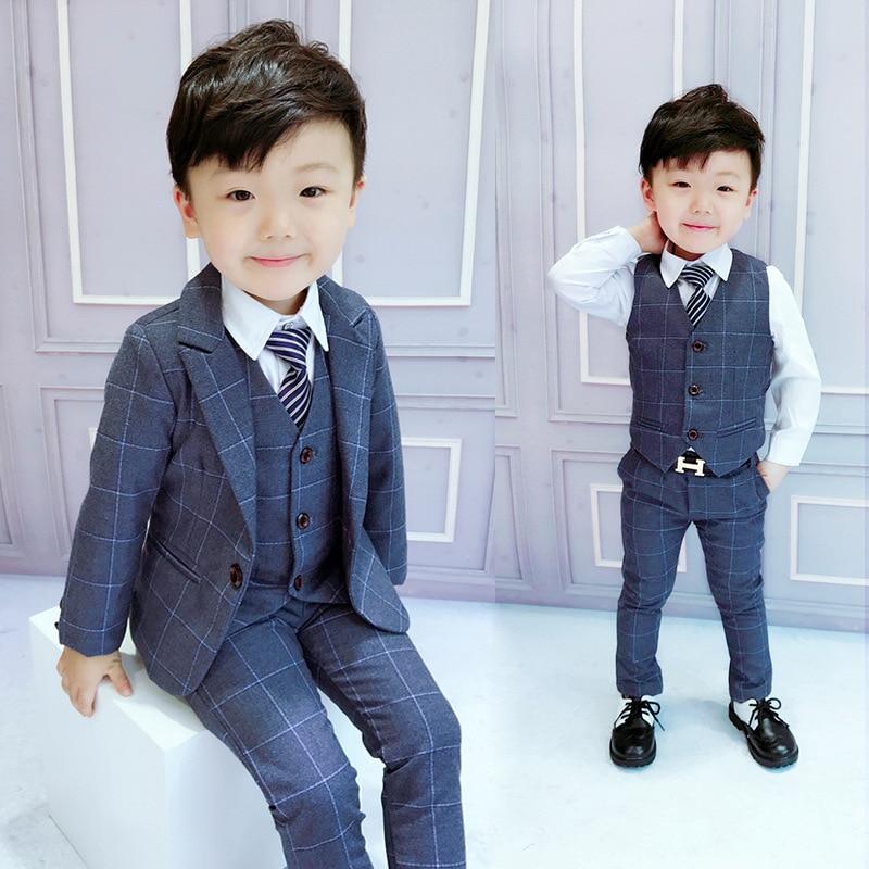 Boys Suits Weddings Kids Prom Suits Wedding Suits Boys Tuexdo Big Children Clothes Set Boy Formal Classic Costume Vest+Coat+Pant
