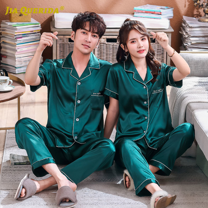 Green Turn Down Collar Imitated Silk Satin Silk Pajamas Set Homesuit Homeclothes Fashion Style Short Sleeve Long Pants Sleepwear