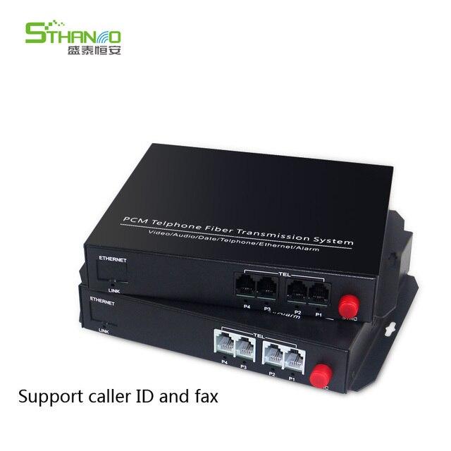 Supporto caller ID e fax 4 Canali pcm multiplexer telefono fibra ottica per rj11 media converter