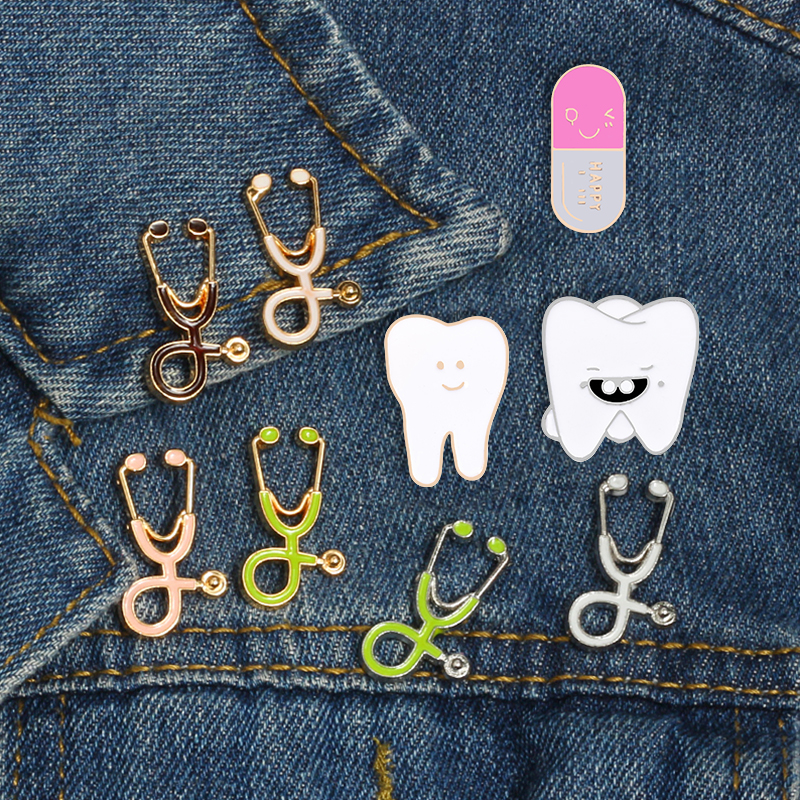 Beautiful Cartoon Medical Enamel Pins Multicolor Stethoscope Brooch Tooth Lapel Pin For Dentist Doctor Nurse Gift Cute Jewelry