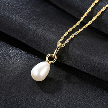 S925 Pure Silver Necklace Pendant 18K Real Gold Plated Natural Freshwater Pearl Direct Wholesale Jewelry