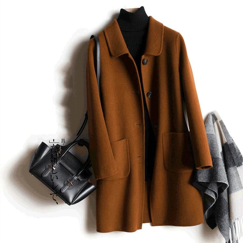 Casual Woman 100% Wool Coat Female Autumn Winter Jacket Women 2020 Fashion Long Wool Jackets manteau femme hiver Q18011