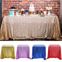 Table-Cover Glitter Sequin Rectangular Home-Decor Wedding Party Rose-Gold/silver