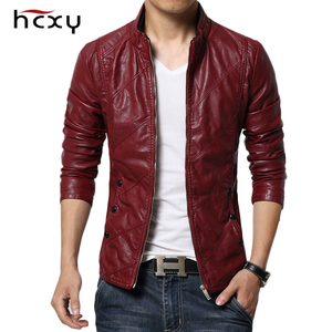 Image 1 - HCXY 2019 Mens Motorcycle Leather Jackets Men Autumn PU Leather Clothing Men Leather Jacket Male Business Upscale casual Coats