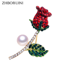 ZHBORUINI High Quality Natural Freshwater Pearl Brooch Pearl Flower Rose Brooch Gold Color Pearl Jewelry For Women Accessories cmajor flower shaped brooch with pearl jewelry silver gold color brooches for women