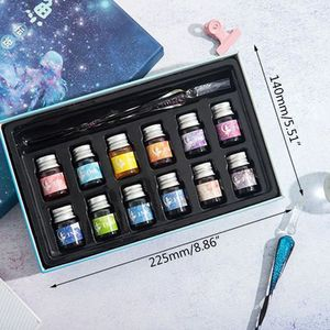Image 2 - Crystal Starry Sky Glass Ink Pen Glass Dip Pen For Writing Fountain Pen Set Gift