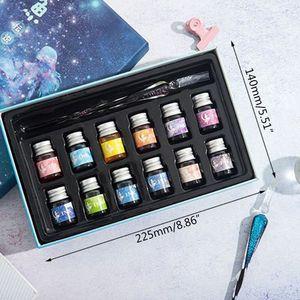 Image 2 - Pluma de tinta de cristal cielo estrellado pluma de inmersión de vidrio para pluma estilográfica para escribir, Set de regalo