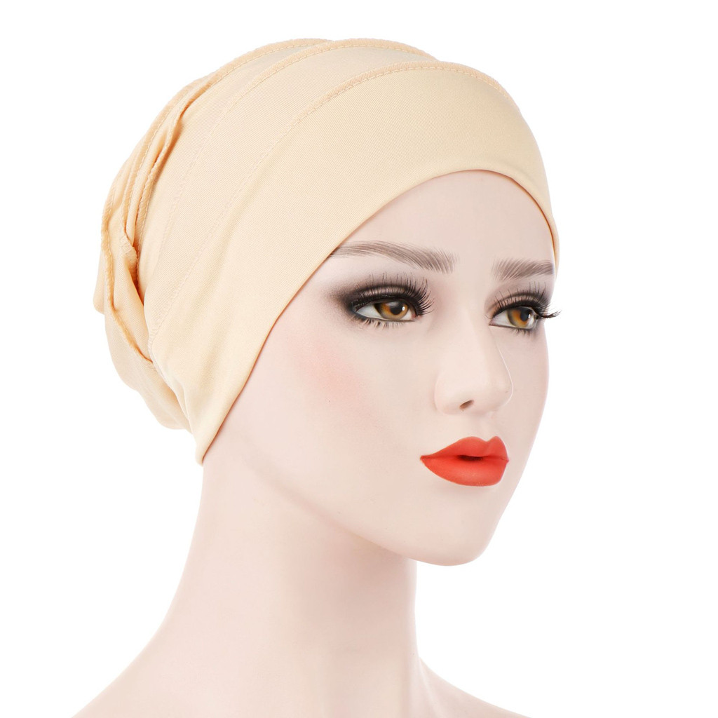Women Solid Wild Velvet Indian Hat Popular Muslim Hat Muslim Ruffle Cancer Chemo Hat Beanie Scarf Turban Head Wrap Cap 4