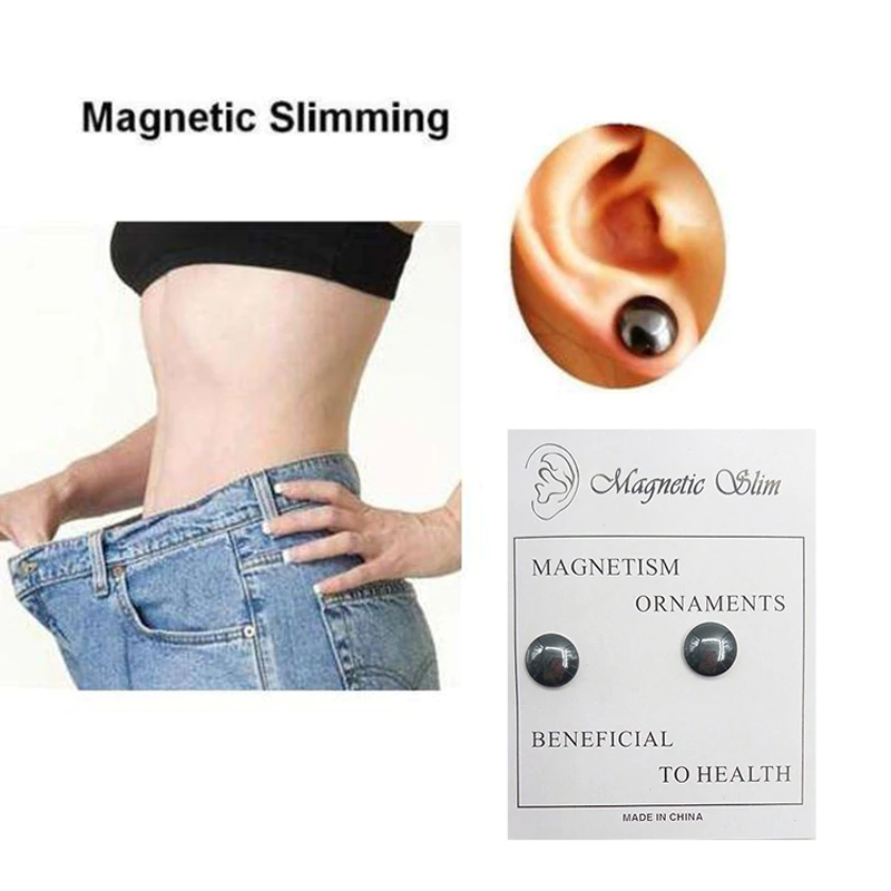 Acupoint Massage Black Magnet Lose Weight Stud Earrings For Woman And Man Slimming Black Magnetic Earrings For Female And Male