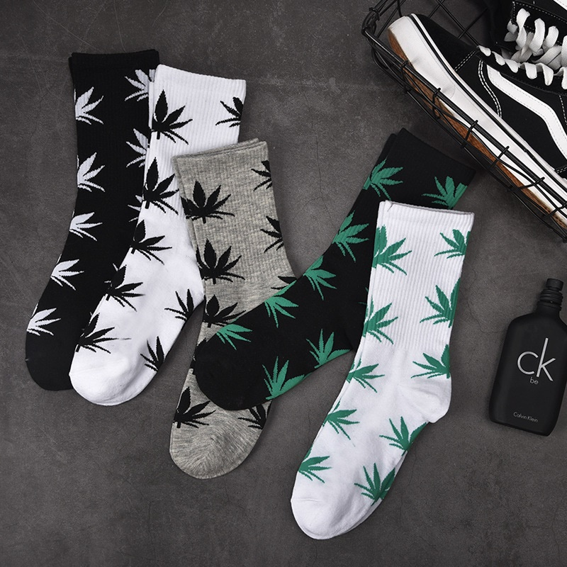 Spring And Autumn Casual Long Paragraph Weed Boat Socks Fashion Comfortable High Quality Cotton Socks  Leaf Maple Leaves