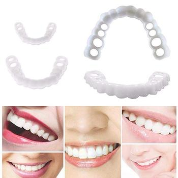 2pcs Snap On Smile Teeth Veneers Whitening Cosmetic Denture Instant Perfect Smile Teeth Fake Tooth Cover Oral Hygiene Tools