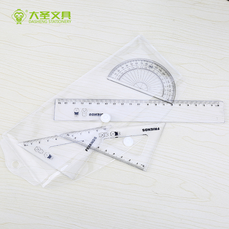 Story New Products Students Learning Only 4 Pieces In A Set Ruler Sets Wholesale Belt Buckle Op Transparent Bag Packaging