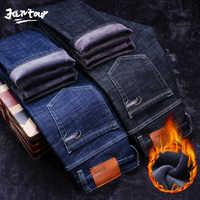 Zima ciepły polar dżinsy męskie grube Stretch Denim moda Jean prosto spodnie do fitnessu spodnie bawełniane mężczyźni duży rozmiar 35 40 42 44 46