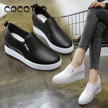 Increased In Women The Spring Of 2019 New A White Shoe Leather Breathable Xia Hou Bottom Lazy Man Casual Shoes Slip-on Shoes21