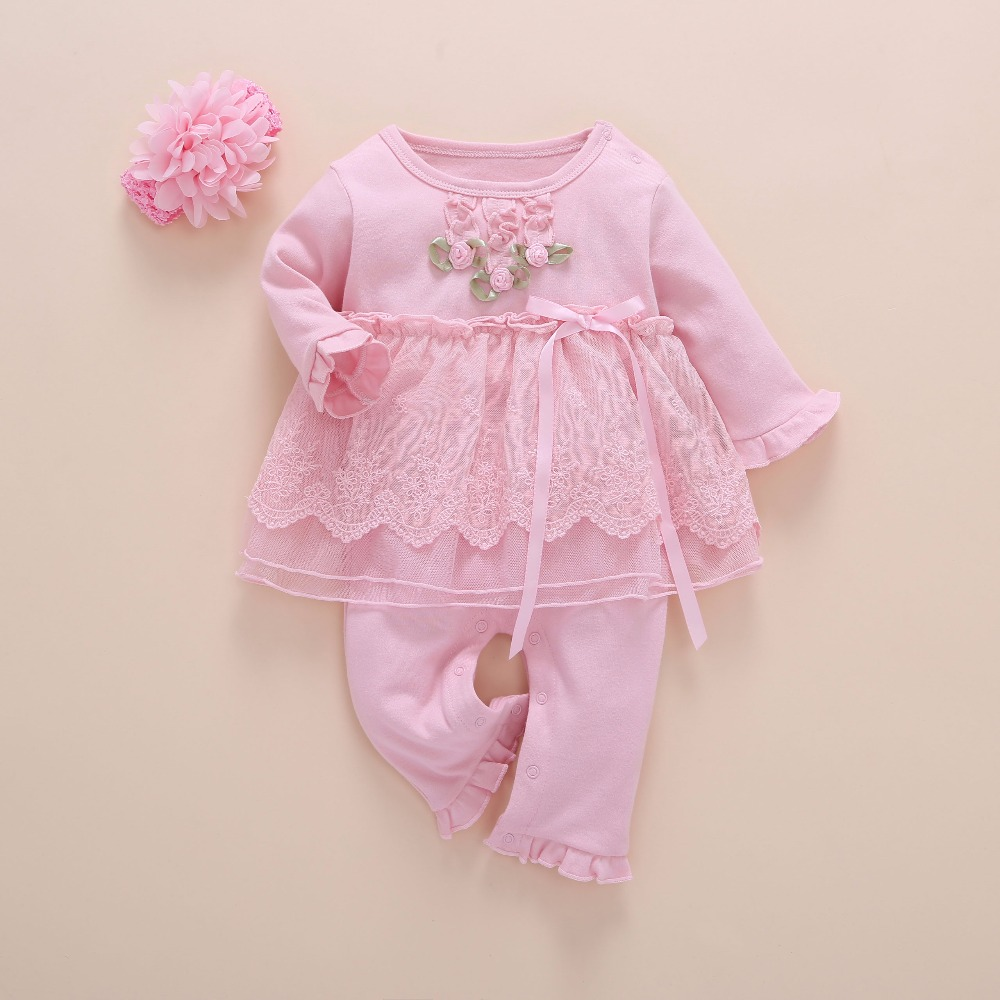Image 5 - Newborn Baby Girl Clothes Fall Cotton Lace Princess Style Baby Jumpsuit 0 3 Months Infant Romper With Socks Headband ropa bebeRompers   -