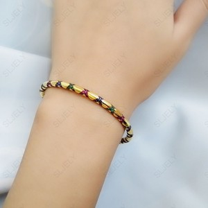 Image 2 - SLJELY High Quality 925 Sterling Silver Multicolor Zirconia Cross Tribal Bangle Yellow Gold Color Women Mana Bracelet Jewelry