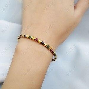 Image 2 - Sljely高品質 925 スターリングシルバー多色ジルコニアクロス部族バングルイエローゴールド色女性マナブレスレットジュエリー
