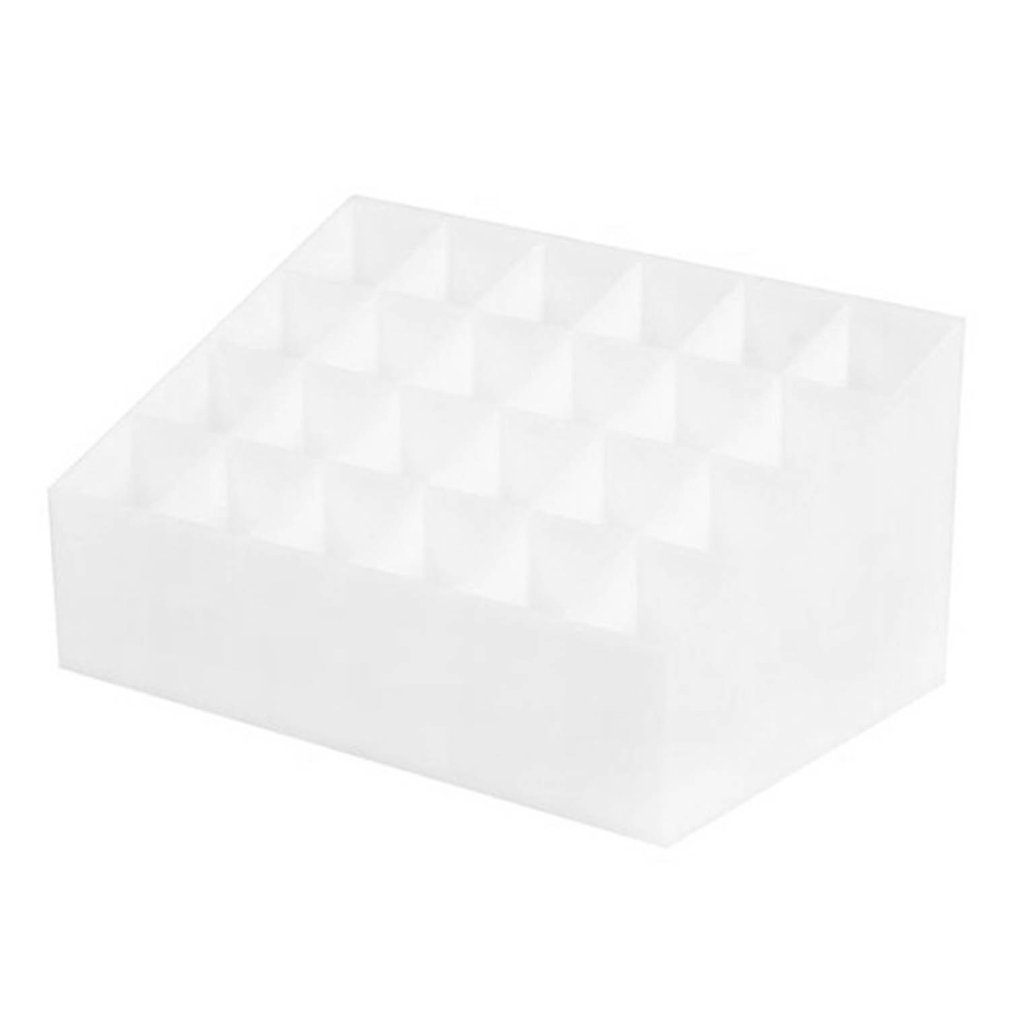 24 Grid Lipstick Holder Plastic Cosmetic Organizer Lipsticks Display Rack Portable Makeup Storage Box