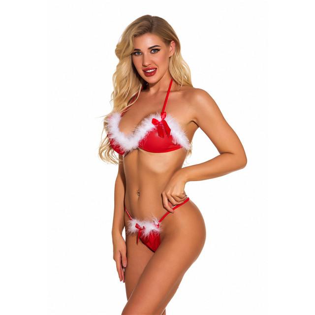 Wrong Christmas Costume Sexy Women Erotic Lingerie Bikini Sets Woman Cosplay Santa Sex Porno Girl Sudent Underwear