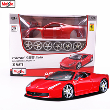 Maisto 1:24 Ferrari -458 8 styles assembled alloy car model DIY toy tool boy gift collection