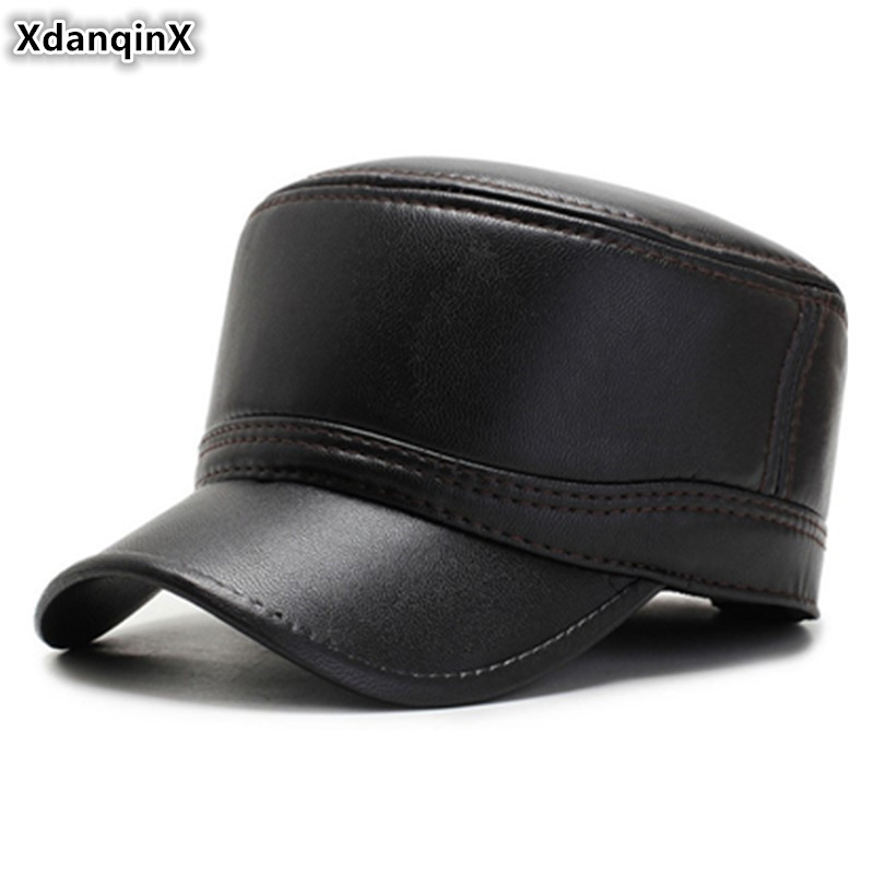 XdanqinX Winter Men's PU Leather Flat Cap Plush Thick Warm Military Hat Earmuffs Cap Dad Hat Adjustable Size Sports Caps For Men
