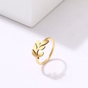 DOTIFI для женщин кольцо новый творческий простой лист дизайн нержавеющая сталь Золото и серебро персонализированные ювелирные изделия E133