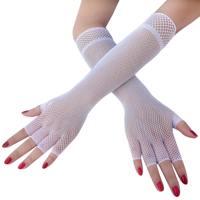 Sexy Black White Fishnet Semi-finger Gloves Lady Communion Princess Bridesmaid Long Party Dancing Performance Driver Gloves