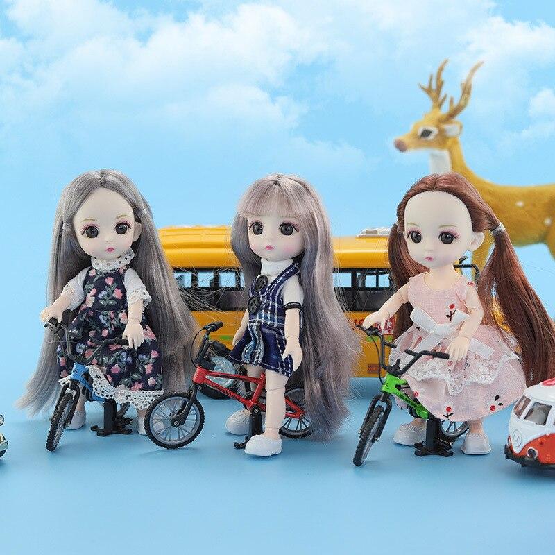 1/12 16cm Dolls Dress Clothes 13 Movable Joint DIY Lovely BJD Princess Dolls Fashion Dress Girl Dress Up Dolls Accessories