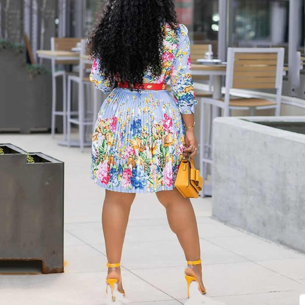 Hoa Xếp Ly Đầm Nữ Công Sở Gợi Cảm Plus Kích Thước 4XL Mùa Thu 2019 Boho Châu Phi Dạo Phố Thanh Lịch Ngày Lễ Sang Trọng In Hoa Phối